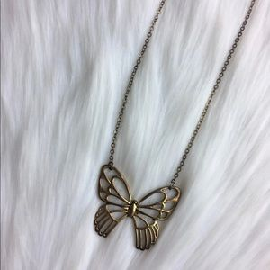Anthropologie brass butterfly necklace